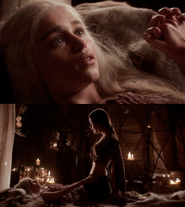 Top picture: Daenerys Targaryen. Bottom picture: Doreah (top) instructing Daenerys (bottom) how to properly mount a man- a scene from HBO's A Game of Thrones