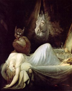 Incubus? Nightmare? Sleep paralysis? Notice the literal night horse (mare) for a nice play on words.