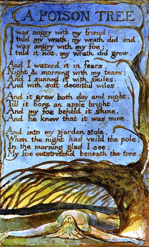 a poison tree: poetry prescription essay A critical reading of a classic poem 'a poison tree', one of the most famous poems by william blake (1757-1827), was first published in blake's 1794 volume songs of experiencebelow we offer some words of analysis on this classic poem.