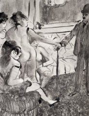 Illustration from Guy de Maupassant's La Maison Tellier by Edgar Degas (1881)