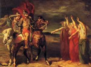 Macbeth and Banquo Meeting the Witches on the Heath by Théodore Chassériau (1855)