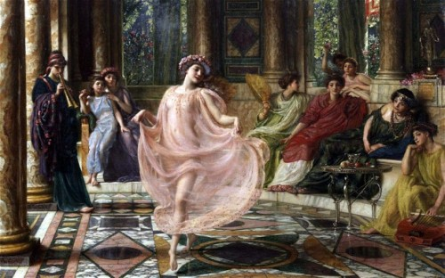"""The Ionian Dance"" by Sir Edward John Poynter (1895) was recently rediscovered after being ""lost"" since 1915. It depicts a scene from ancient Pompeii."