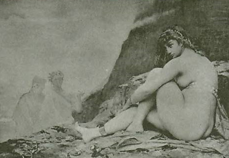 Lais in Hades by Gustave Cortos, print by Luis Falero (1902)