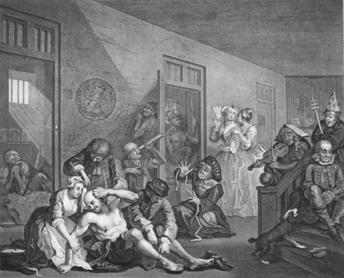 The Interior of Bedlam by William Hogarth (1763)