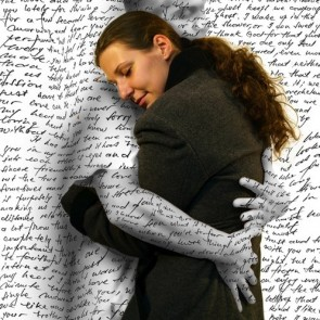 words hug woman