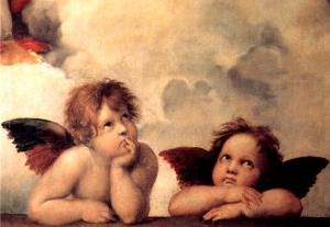 Detail from The Sistine Madonna by Raphael (1512)