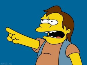 The Simpsons' Nelson Muntz giving the ultimate 'Ha-ha!'