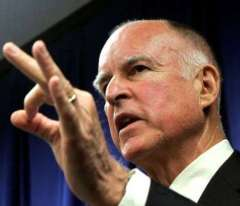 Jerry Brown masturbatory gesture