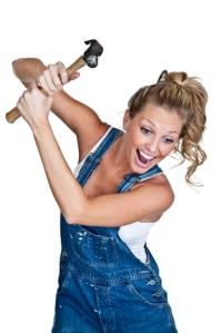 goofy woman swinging hammer
