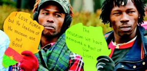 African artists protest in Korea