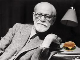 Freud with cheeseburger
