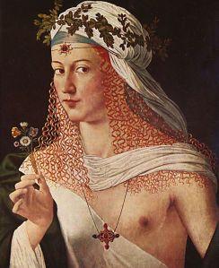 Idealized Portrait of a Courtesan as Flora by Bartolomeo Veneto (1520)