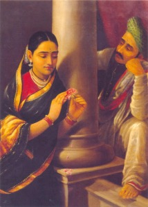 Woman Talking to a Shy Man by Ravi Varma