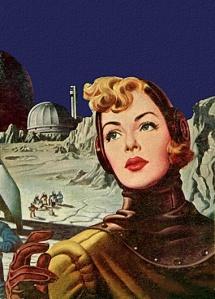 blonde in retro spacesuit