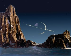 Saturn as Seen from Titan by Chesley Bonestell (1952)