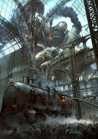 surreal train station