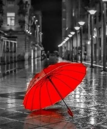 red umbrella, rainy street